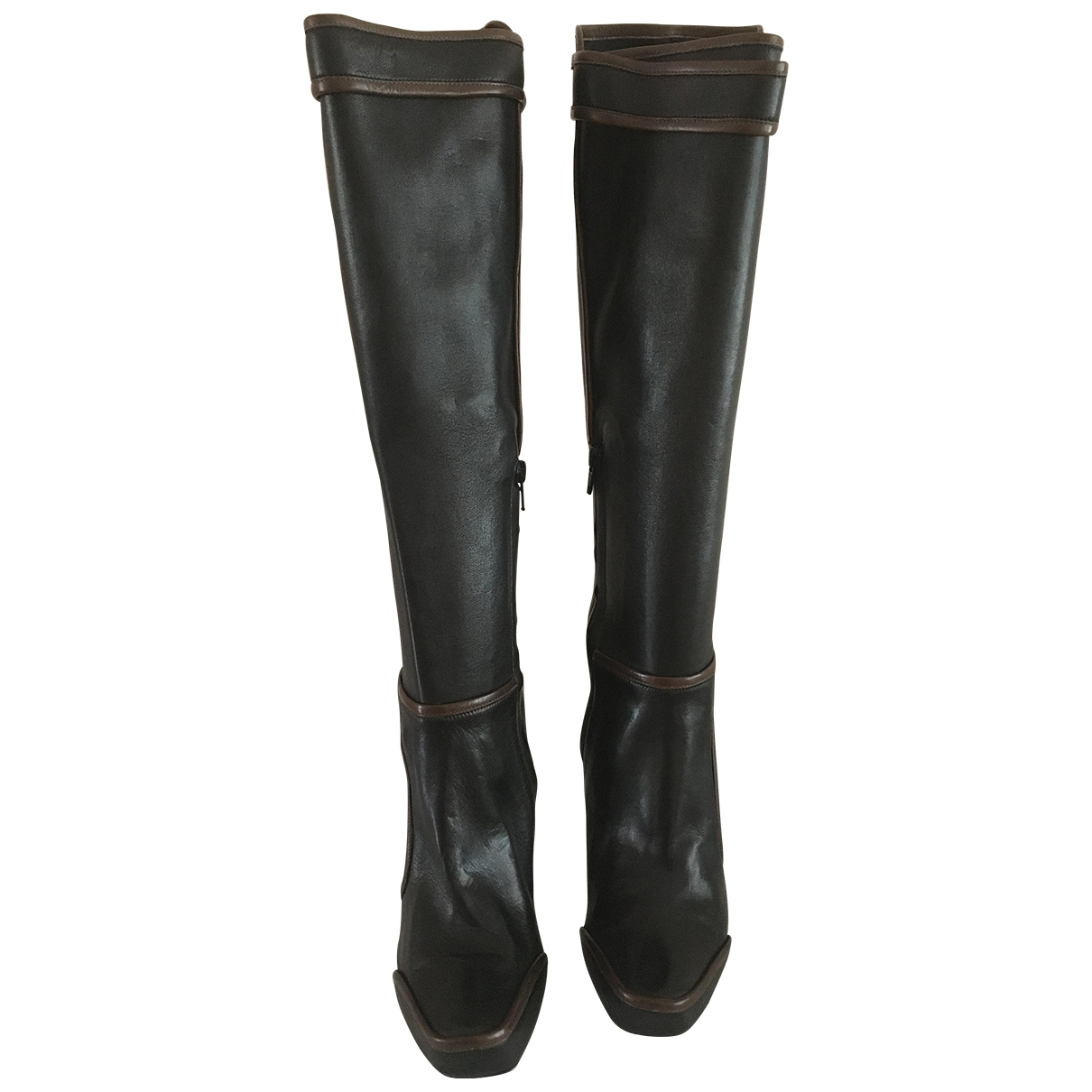 Celine \N Brown Leather Boots for Women 37 EU