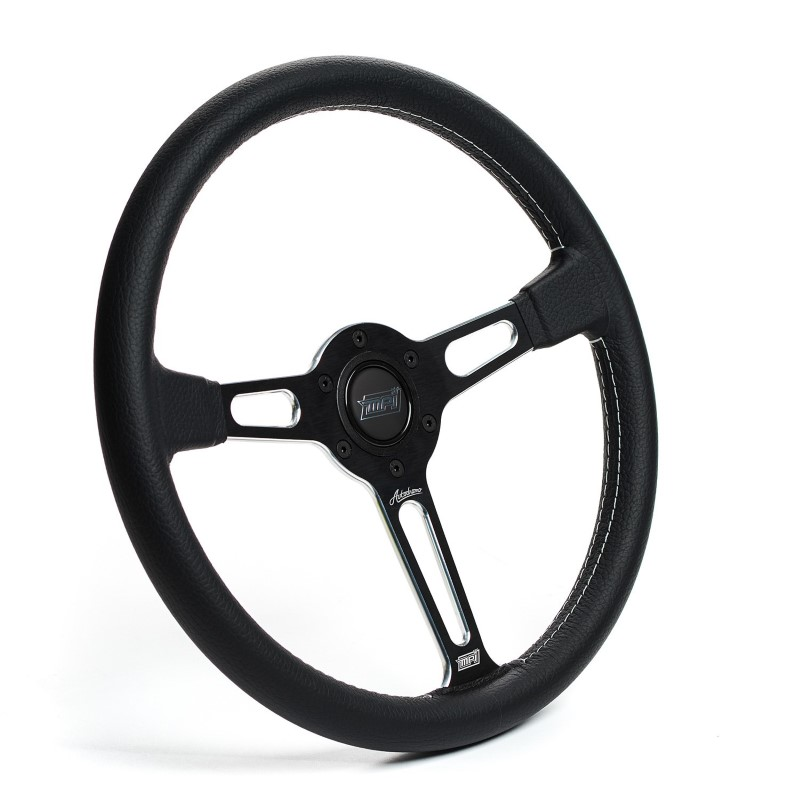 Detroit Speed 092580M Black Leather Steering Wheel MPI Autodromo 80 Series Black Center Post Machined Accents w-Horn