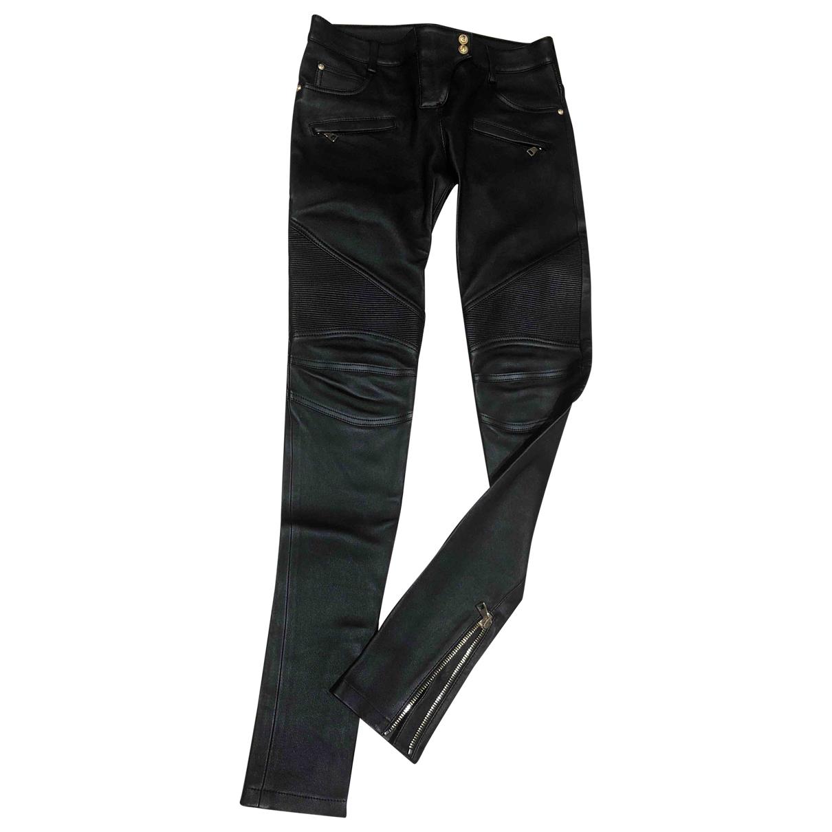 Balmain N Black Leather Trousers for Women 38 FR