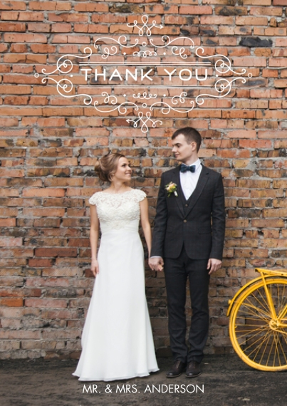 Wedding Thank You 5x7 Cards, Premium Cardstock 120lb with Rounded Corners, Card & Stationery -Thank You Vintage Swirl