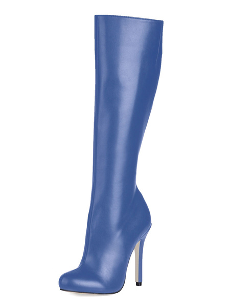 Milanoo Wide Calf High Knee Boots 2020 Women Black High Heel Round Toe Leather Winter Boots