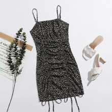 Drawstring Ruched Ditsy Floral Print Cami Dress