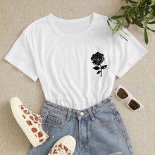 T-Shirt mit Rose Muster und kurzen Ärmeln