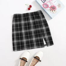 Girls Split Hem Plaid Skirt