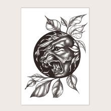 Pegatina tatuaje con patron de animal y planta