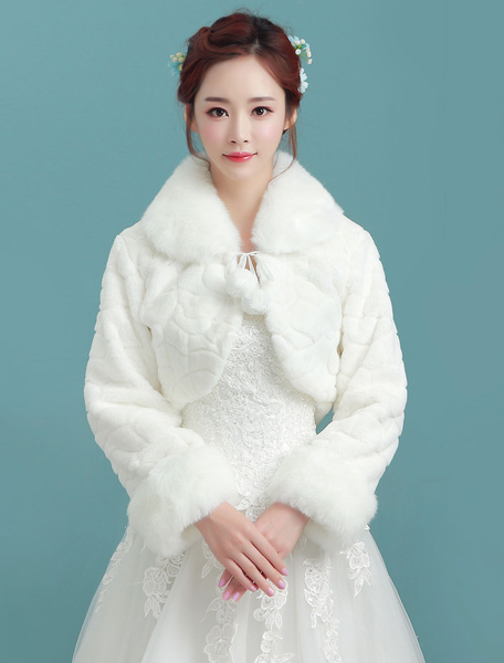 Milanoo Wedding Bolero Jacket Ivory Turndown Collar Long Sleeve Bridal Winter Faux Fur Stole With Pom Poms