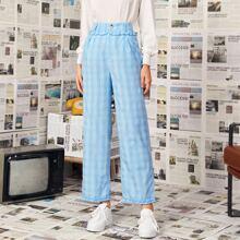 Pantalones de guingan ribete con fruncido