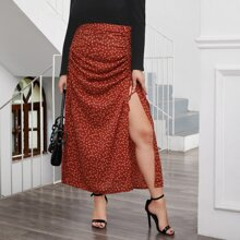 Plus Drawstring Ruched Ditsy Floral Skirt