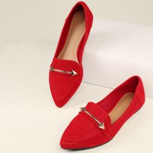 Pointed Toe Ornament Detail Loafer Flats