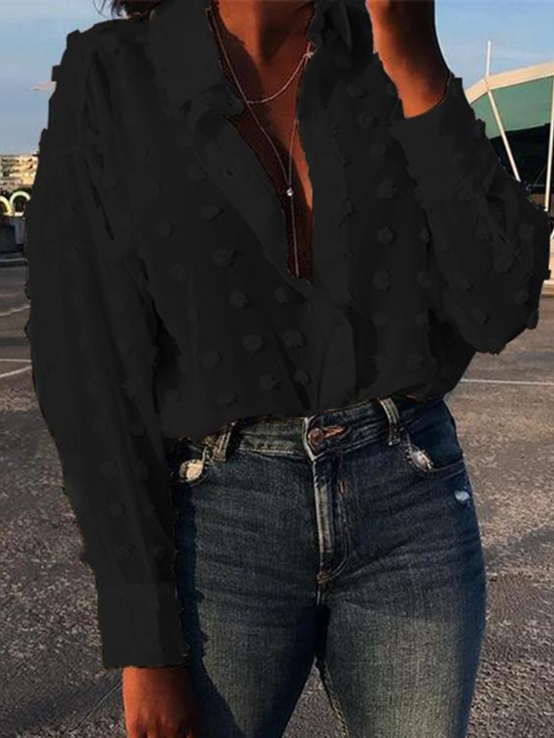 Ericdress Plain Lapel Regular Long Sleeve Standard Women's Blouse