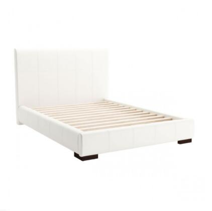 Amelie Collection 800102 83.9 Full Bed with Stitched Detailing  Block Feet  12 Slats  Leatherette Upholstery in White