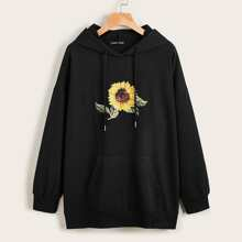 Kapuzenpullover mit Kaenguru Taschen, Sonnenblumen Muster und Kordelzug
