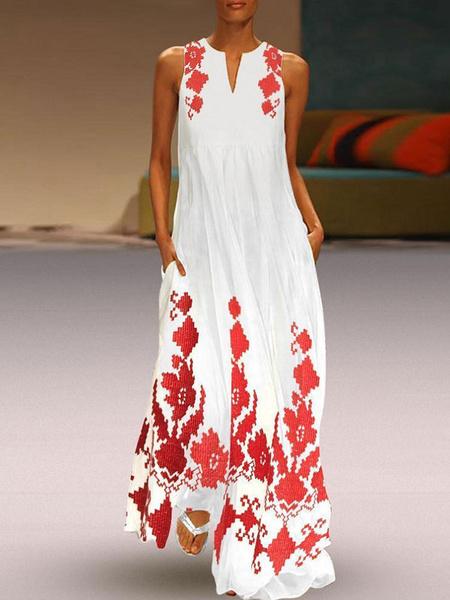 Milanoo Vestido sin mangas de los vestidos maxi rojo Impreso con cuello en V de poliester ocasionales flojas de la longitud del piso