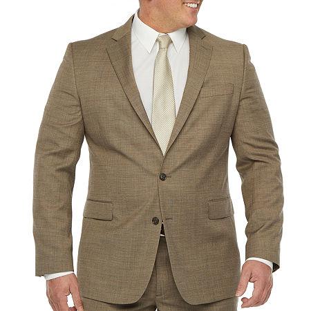 Stafford Super Mens Stretch Regular Fit Suit Jacket, 54 Big Regular, Beige