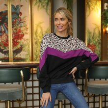 Pullover de color combinado panel de leopardo