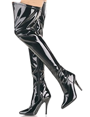 Milanoo Black 4 1/10 High Heel Patent Leather Over the Knee Womens Sexy Boots