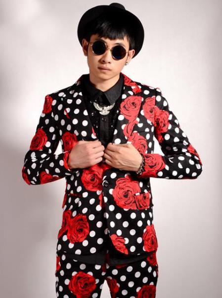 Mens Flower/Polka Dot Pattern Black Red Peak Lapel Party Slim Blazer