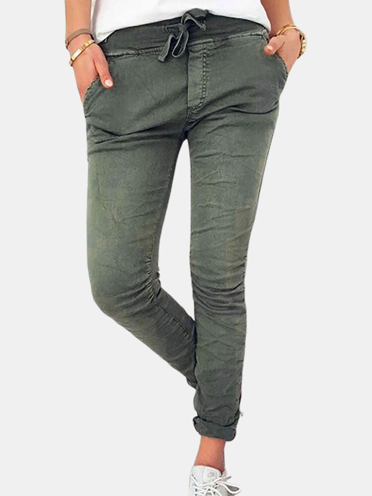 Drawstring Solid Color Cotton Skinny Pants