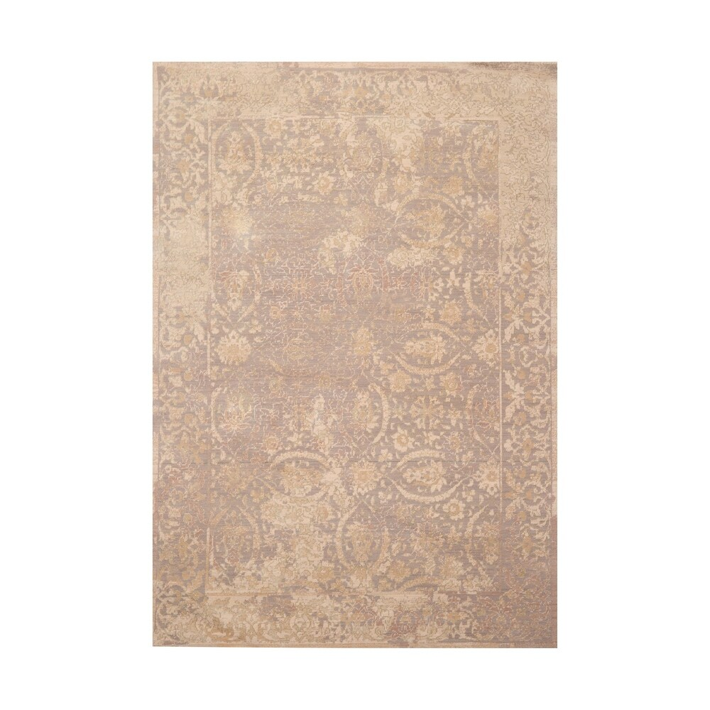 5x7 Machine Made New Zealand Wool Evanascent Traditional Oriental Area Rug Gray, Beige Color - 5'  x 8' (Beige/Gray - 5' x 8')