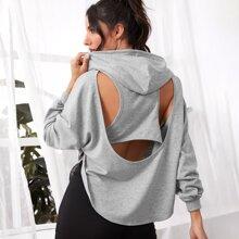 2 In 1 Pullover mit Ausschnitt hinten und Kapuze