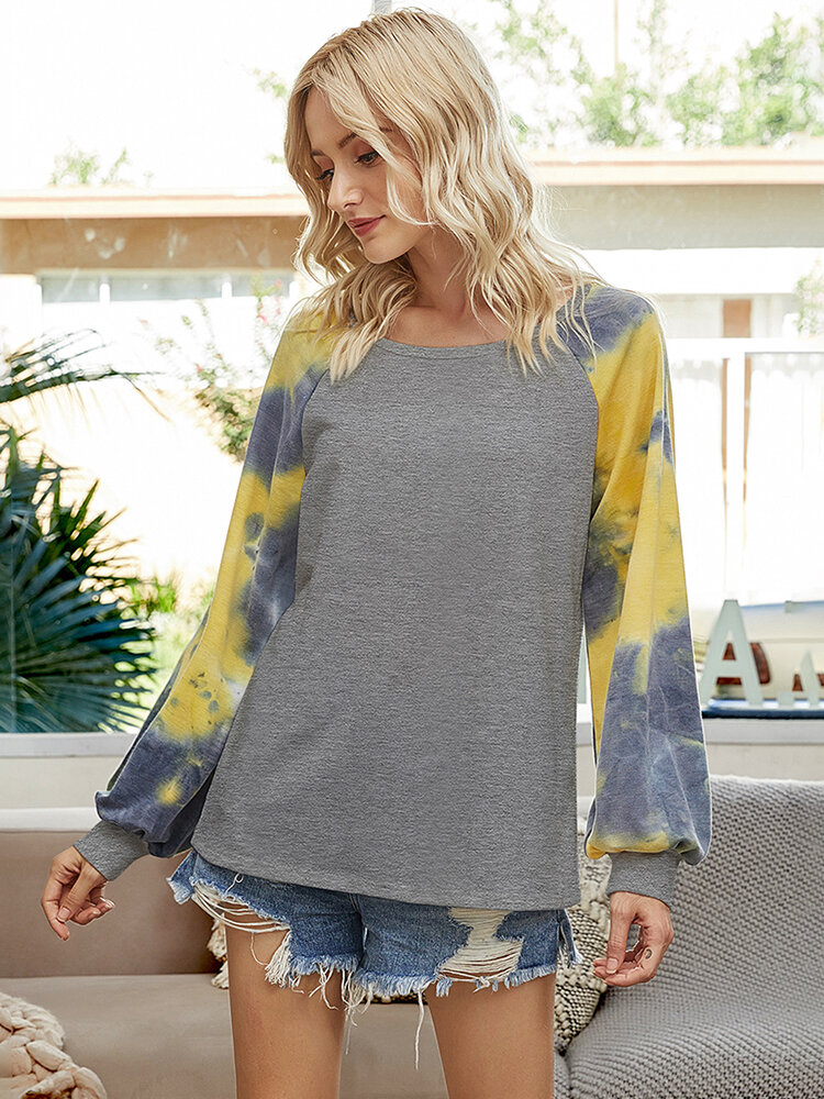 Tie-dyed Print Long Sleeves O-neck T-shirt