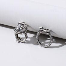 2 Stuecke Ring mit Drache Dekor