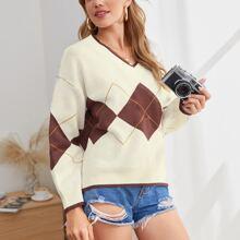 Geometrisches Muster Preppy Pullover