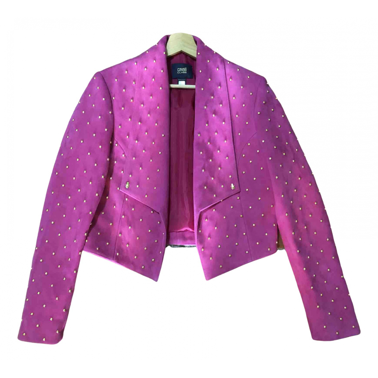 Roberto Cavalli N Pink Leather Leather jacket for Women 40 IT