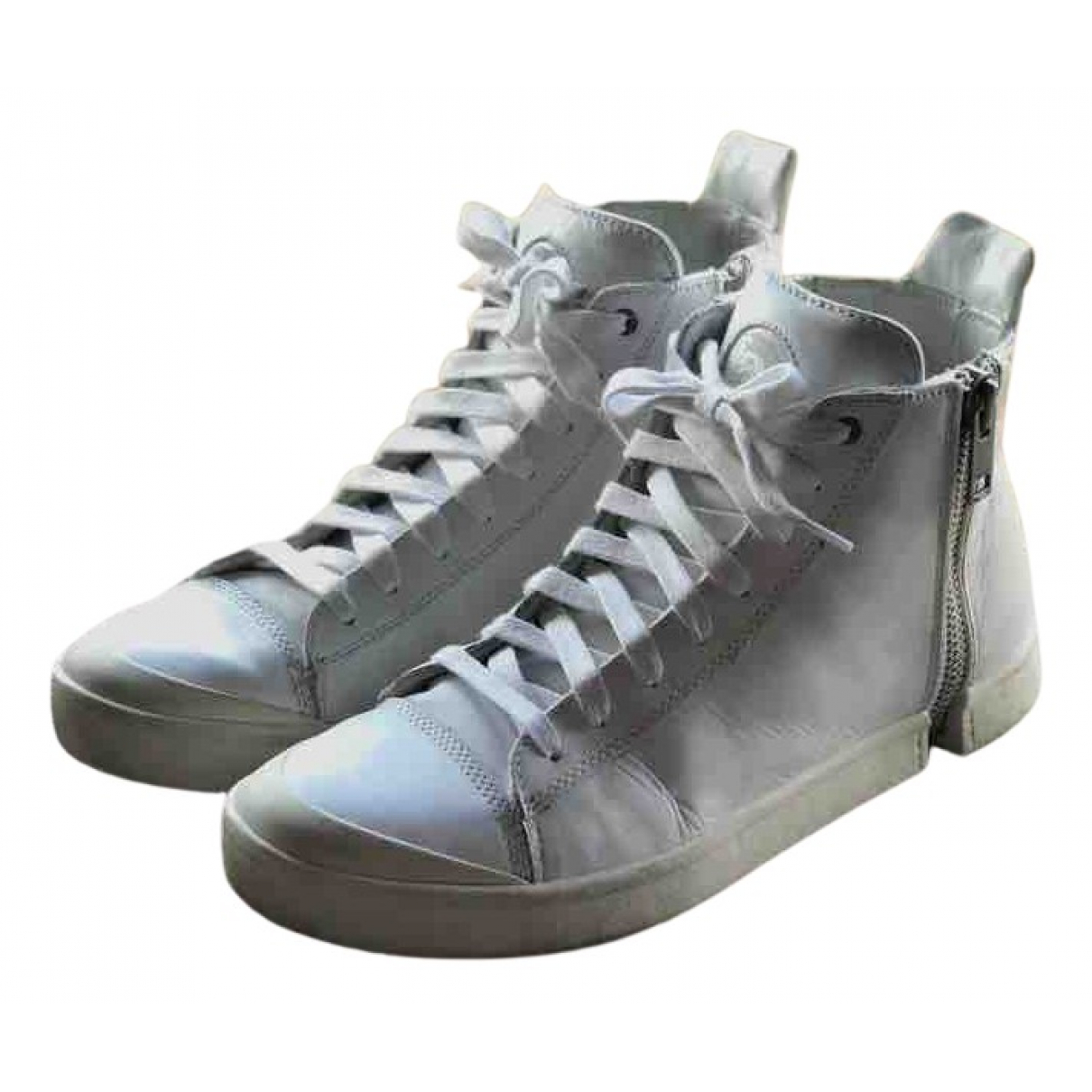 Diesel N White Leather Trainers for Men 44 EU