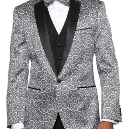 Silver 2Toned Alberto Nardoni Paisley Sequin Blazer or Tuxedo Suit