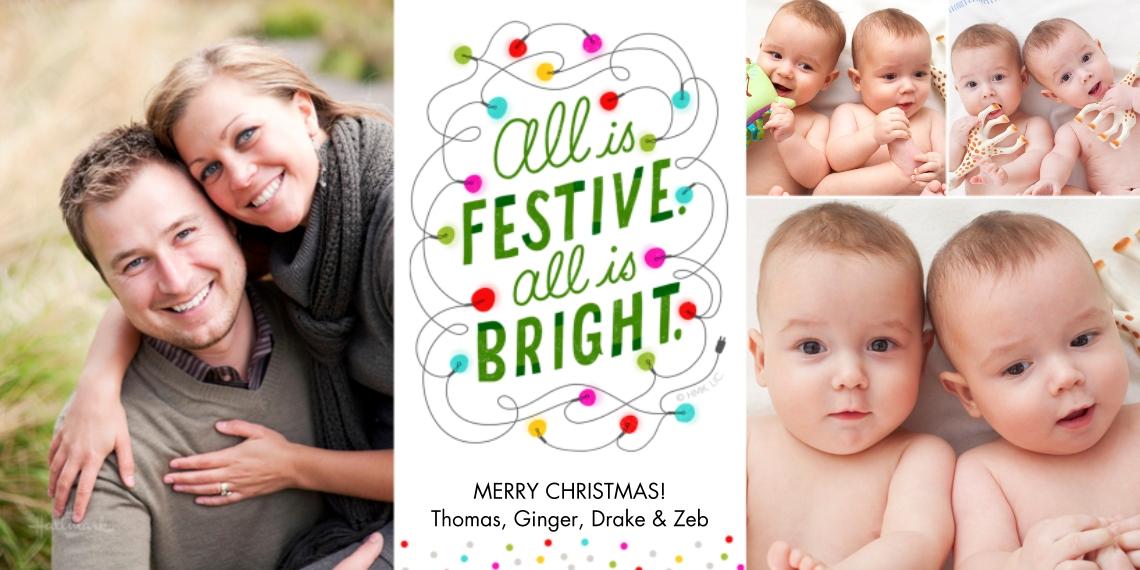 Christmas Photo Cards 4x8 Flat Card Set, 85lb, Card & Stationery -AllIs Festive AllIs Bright