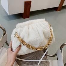 Solid Fluffy Ruched Bag