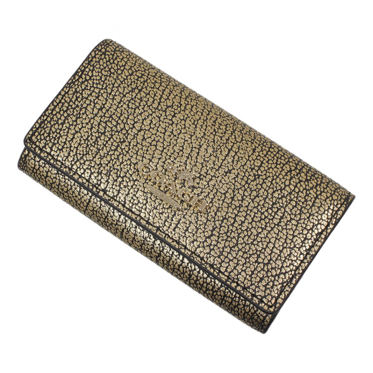 Coach \N Gold Leather Purses, wallet & cases for Women \N