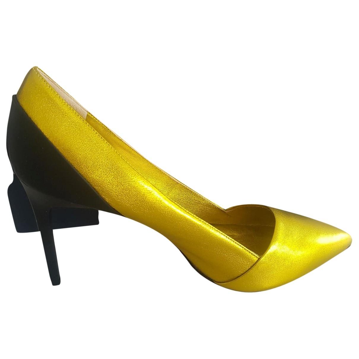 Oscar De La Renta - Escarpins   pour femme en cuir - jaune