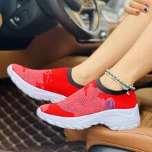 Landscape Painting Knit Chunky Slip On Sneakers