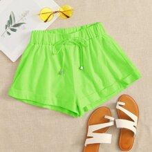 Shorts de cintura con cordon bajo doblado verde neon