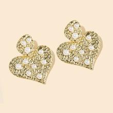 Ohrringe mit Kunstperlen Dekor und Herzen Dekor