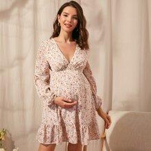 Maternidad vestido floral de margarita bajo con volante con encaje