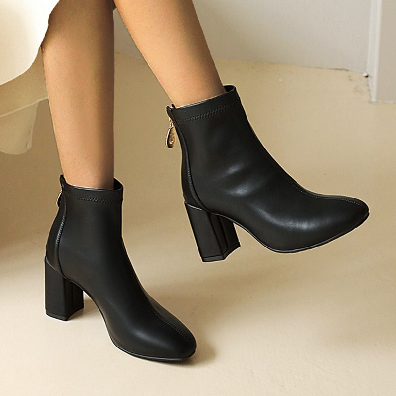 Ericdress Back Zip Chunky Heel Round Toe Zipper Boots