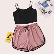 Cami Top With Contrast Binding Shorts PJ Set