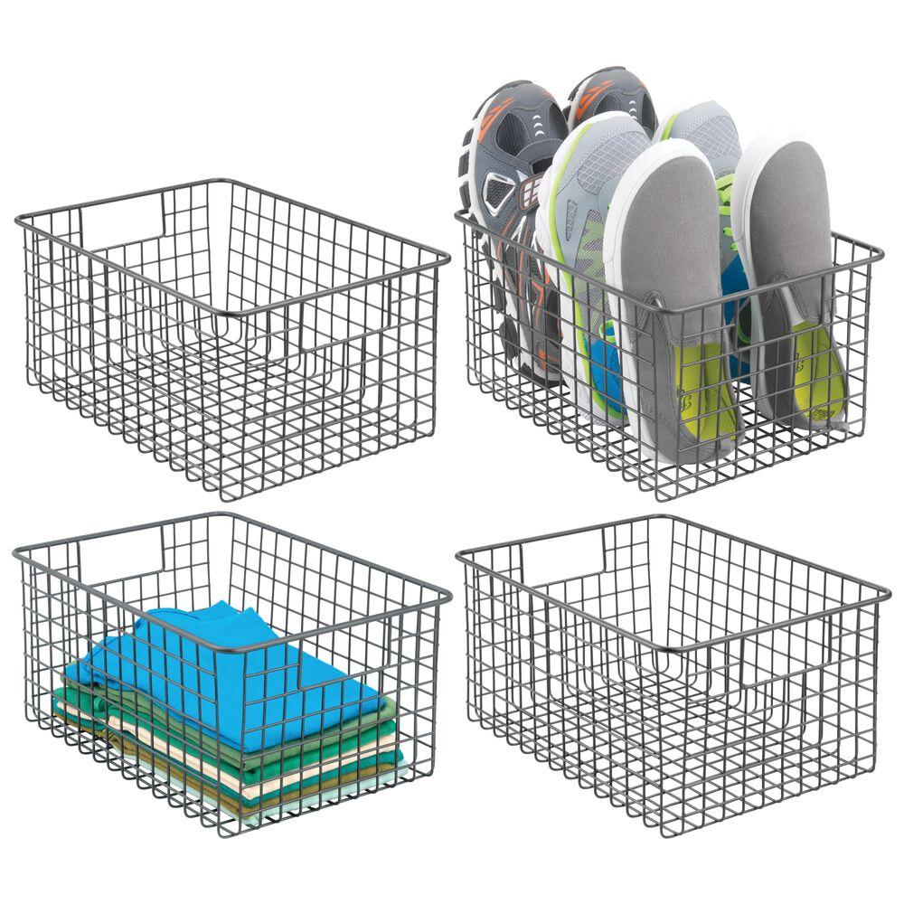 mDesign Wire Closet Storage Bin with Handles in Graphite Gray