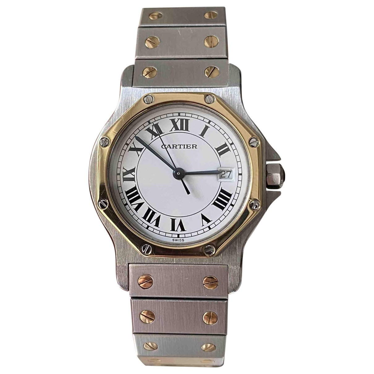 Cartier Santos Ronde Silver gold and steel watch for Women \N