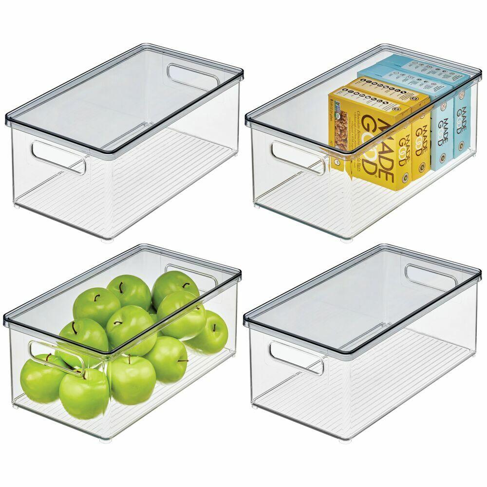 Lidded Plastic Pantry Bins - Pack of, by mDesign