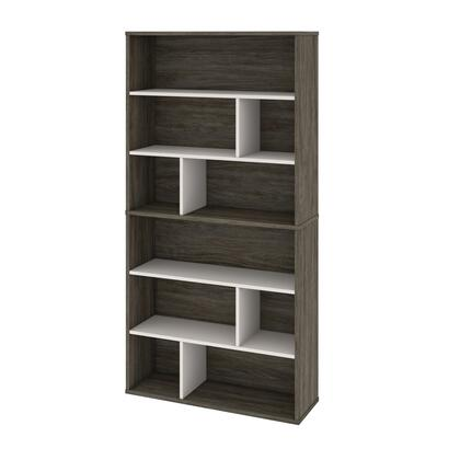 22852-000035 Fom 2-Piece Asymmetrical Shelving Unit Set in Walnut Grey &