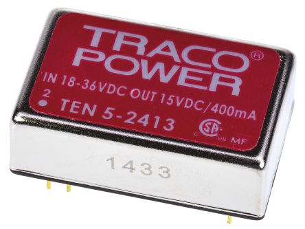 TRACOPOWER TEN 5 6W Isolated DC-DC Converter Through Hole, Voltage in 18 → 36 V dc, Voltage out 15V dc