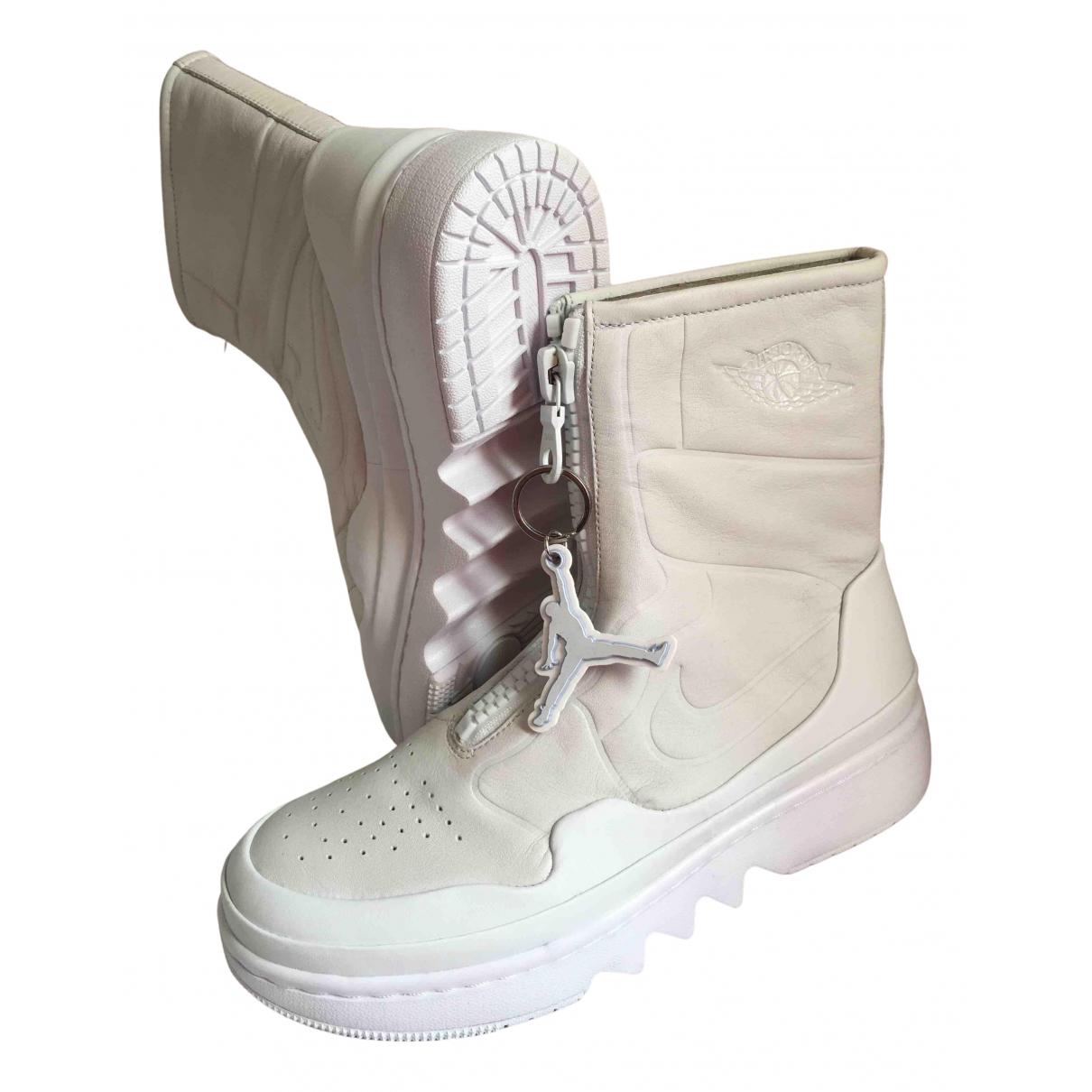 Jordan - Baskets Air Jordan 1  pour femme en cuir - blanc