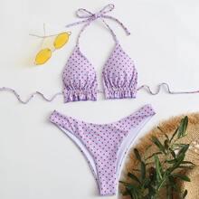 Bikini Badeanzug mit Punkten Muster, Raffungsaum und Neckholder