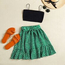 Cropped Cami Top & Ditsy Floral Mini Skirt Set