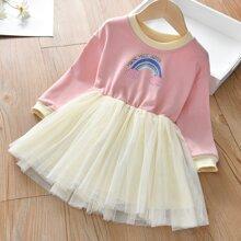 Toddler Girls Letter Graphic Mesh Panel Sweatshirt Dress