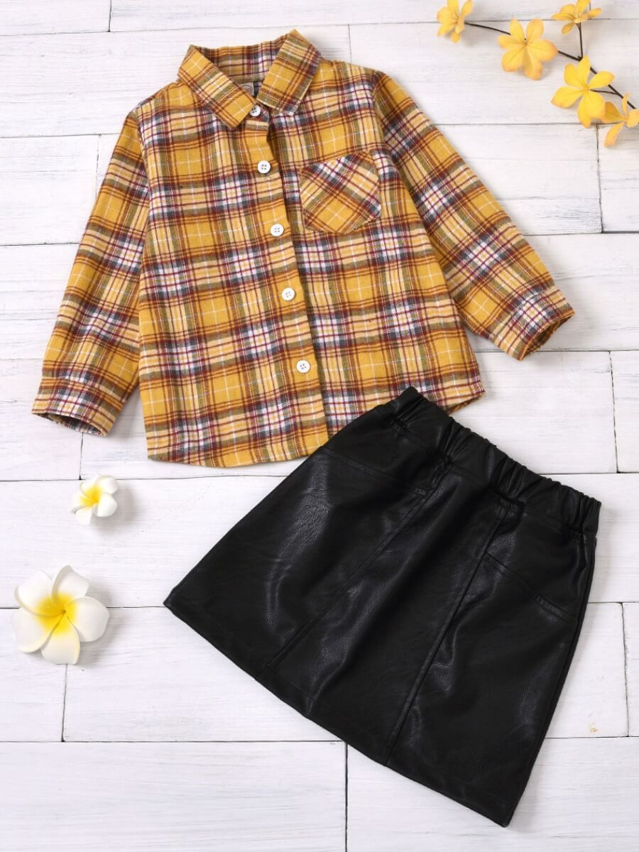 LW Lovely Trendy Shirt Collar Grid Print Yellow Girl Two-piece Skirt Set